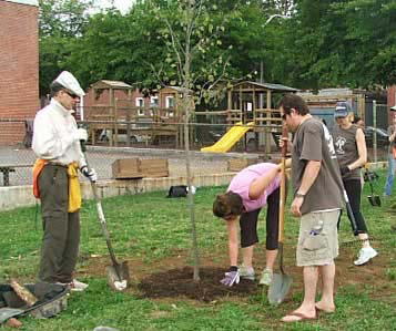 Brian Kinsey (in hat) and other ABA members plant trees in Baltimore to start ABA's One Million Trees Project.