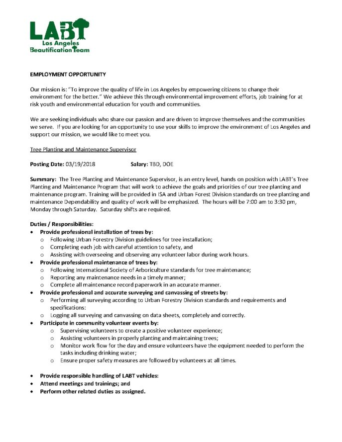 Supervisor Job Description | Tree Planting And Maintenance Supervisor Job Description
