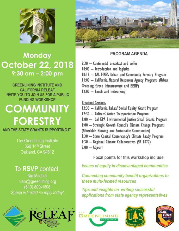GI and ReLeaf 2018 Workshop Flyer - California ReLeaf