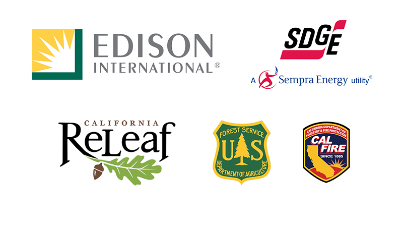 Logos representing Edison, SDGE, California ReLeaf, US Forest Service, and CAL FIRE